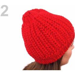 Pletená čepice s bambulí z umělé kožešiny 1ks 2 červená jahoda od ... 0e35198f9b