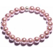 Lavaliere dámský perlový náramek tmavě růžové shell perly 23801