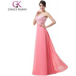cdbe5b8e74f Grace Karin korálově růžové-bílé společenské šaty dlouhé CL6135-2 Černá