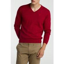 Gant Pánský svetr LT. WEIGHT COTTON V-NECK červená S