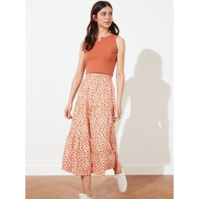 Trendyol vzorovaná midi sukně oranžová