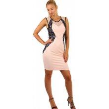 556a7a2ac10d TopMode romantické přiléhavé šaty s krajkou i pro plnoštíhlé světle růžová