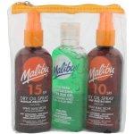 Malibu Sun Travel suchý olej na opalování SPF15 100 ml + suchý olej na opalování SPF10 100 ml + gel po opalování Aloe Vera 100 ml dárková sada