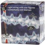 Vánoční vnitřní světelný řetěz 20x LED vánoční hvězdy (výška hvězdy 4.8 cm), na baterie 3x AA