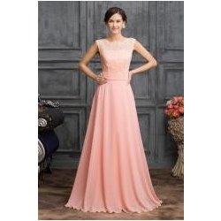 85ecc9bbd51e Šaty pro družičky v růžové s hlubokým výstřihem na zádech ...