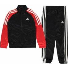 Adidas Tiberio Closed Hem Tracksuit Junior Boys Black Red Wht