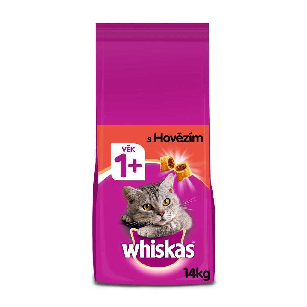 Recenze Whiskas granule s hovězím pro dospělé kočky 14 kg