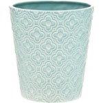 BKS DECOR Květináč s kvítky tyrkysový, 13x13x14 cm, keramika