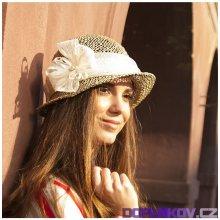 7fa124261a7d Karpet Dámský klobouk z mořské trávy zdobený sinamay tm. modrá 295151