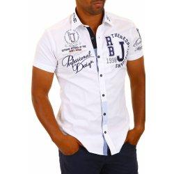 Redbridge pánská Bílá Slim Fit košile s výšivkami - krátkým rukávem ... 0de14d40e7