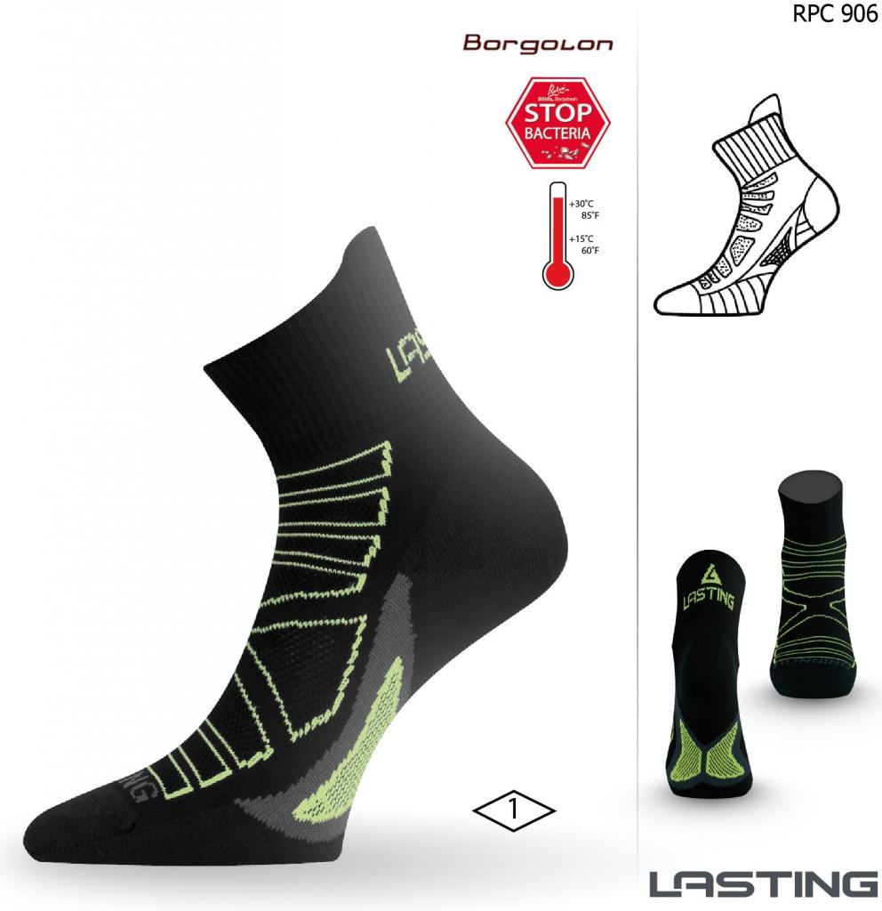 Recenze Lasting RPC běžecké ponožky černá   zelená - Heureka.cz 7bc7019de2
