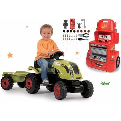 Smoby set traktor Claas Farmer XL na šlapání a pracovní dílna vozík Auta Mack Truck