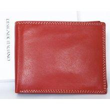 leskle lakovaná kožená peněženka bez značek a nápisů Červená