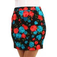 b098a9258a0b Glara květovaná krátká pouzdrová sukně černá 271668