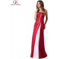 Grace Karin plesové šaty s krásnou výšivkou CL3132 červená bílá ... 5ed528f211