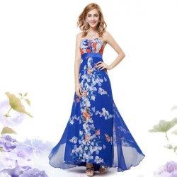 75bf5f79a8f3 Dámské letní modré květinové dlouhé šaty bez ramínek 9865 ...