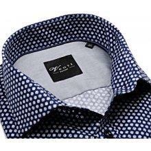 Venti Slim Fit – tmavomodrá košile s šedo-bílým vzorem a vnitřní manžetou -  prodloužený 56f66da993