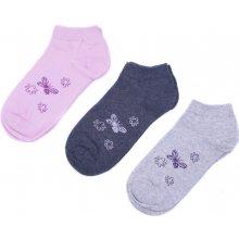 Emi Ross dámské kotníkové bavlněné ponožky s motýlky 3 páry