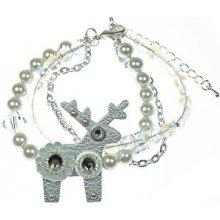 Deers perličkový náramek se stříbrným jelínkem Greta