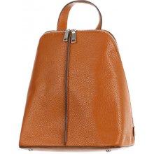 Glara městský dámský koženkový batoh na zip 278323 hnědá 973bc6f39b