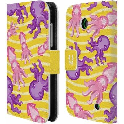 Pouzdro HEAD CASE NOKIA LUMIA 630 / LUMIA 630 DUAL Mořský živočich chobotnice a krakatice žluté barva