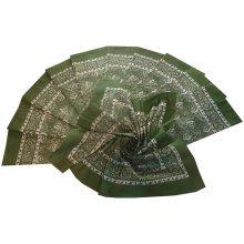 ed47d0c324f Bavlněný šátek velký zelený květovaný