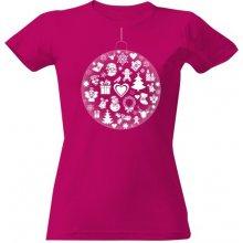 262525143f3d T-shock tričko s potiskem Vánoční baňka dámské Fuchsia