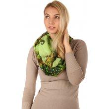 eedaed3a0f3 Glara Kruhový šátek s originálním vzorem zelená