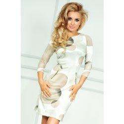 Dámské šaty Numoco SAF dámské pouzdrové šaty s potiskem béžová 2482233280