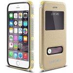 Pouzdro Luxusní LOVE MEI s odnímatelným em Apple iPhone 6 / 6S - rámeček s českými krystaly - zlaté - 0,3