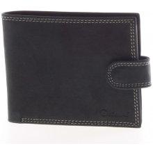 Delami Pánská kožená černá prošívaná peněženka 8945 černá