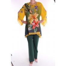 Dámský kalhotový komplet žluto-zelený