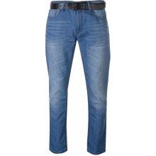 Crosshatch Lartoons Belted Jeans Mens Light