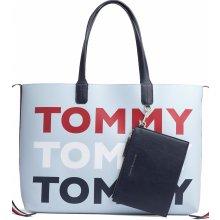 Tommy Hilfiger taška Iconic Tommy Tote Tommy Print modrá f636ab849dc