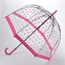 Fulton dámský průhledný holový deštník Birdcage 2 PINK POLKA DOT L042