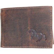 Kožená peněženka z přírodní pevné kůže s koněm