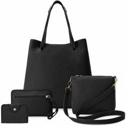 Komplet dámských kabelek 4v1 shopper kabelka peněženka kabelka listonoška  dokladová kapsa černá 7bc86323b56