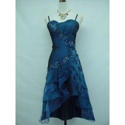 Krátké společenské šaty koktejlky s volánovou sukní pro plnoštíhlé modrá 4a311d5fa9