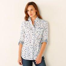Blancheporte Košilová halenka s minimalistickým vzorem bílá modrá 7eae925922
