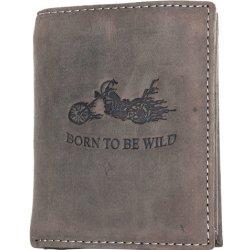 The wild force Kožená šedo peněženka s motorkou z pevné hovězí kůže hnědá 400049657d