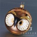 Skleněné vánoční ozdoby - Sovička v bronzové barvě
