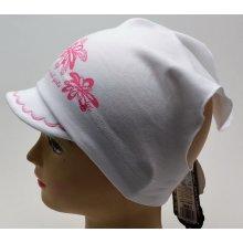 e7f97a8349a RDX dívčí šátek s kšiltem 2868 Květy Bílá