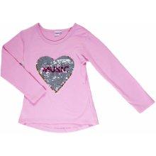 Topo Dívčí tričko s otočnými flitry - růžové