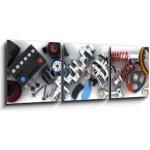 WEBLUX Obraz s hodinami 3D třídílný - 150 x 50 cm - Car parts Autodíly