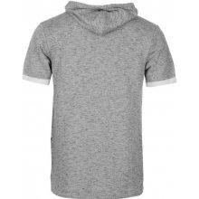 Firetrap Luxe Short Sleeve Over The Head Hoody Mens Grey Marl