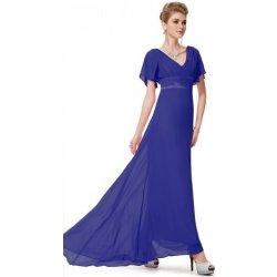 df2a2e4bb5a Modré dlouhé svatební společenské šaty s rukávem na svatbu ples ...