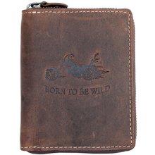 Born to be wild Kožená peněženka s motorkou dokola na kovový zip