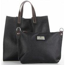 5afe2d6ae2 univerzální kožené kabelky 2v1 ShopperBag a listonoška černá