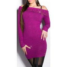 2e72087ae5d Koucla Dámský luxusní dlouhý svetr se zipem a nýtky fialová
