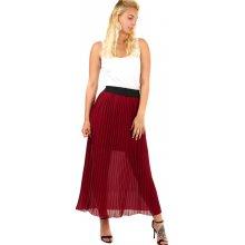 63b0debc2b7 TopMode dlouhá dámská plisovaná sukně skládaná vínová